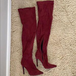 Liliana Burgundy Thigh High Boots
